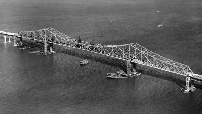 Historic photograph of the building of the Tappan Zee Bridge. The bridge transformed Rockland County from a farming community to a bustling suburb. Photo: Historical Society of Rockland County