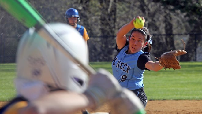 Rye Neck pitcher Olivia Dunne pitches during girls softball game at Ardsley High School on April 18, 2016.