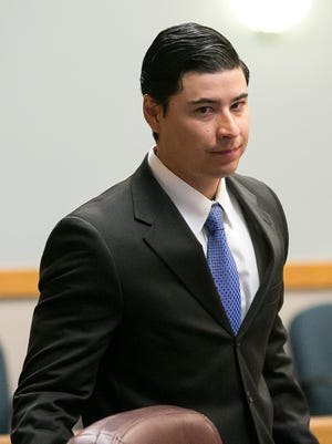Tai Chan, the former Santa Fe County deputy accused of shooting and killing fellow deputy at Hotel Encanto in 2014, appears in 3rd Judicial District Court in February 2016. His trial is scheduled to begin Monday.
