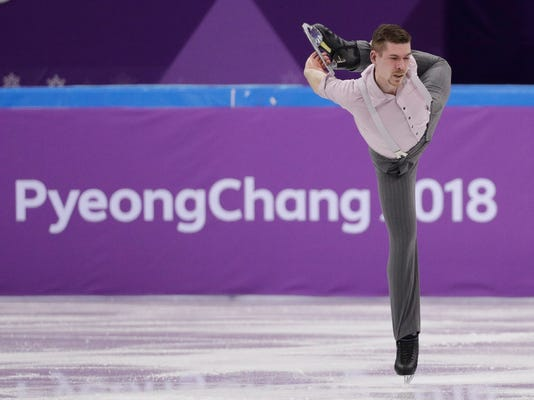 Germany's Paul Fentz performs in the men's single short program team event at the 2018 Winter Olympics in Gangneung, South Korea, Friday, Feb. 9, 2018. (AP Photo/David J. Phillip)