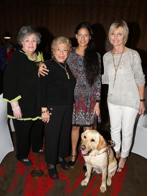 (Left to right) Honoree Phyllis Eisenberg, founder and event chair Helen Varon,   keynote speaker Ruth Smadar Nachshon with her Guide Dog Roxi, and honoree Bunni Benaron.