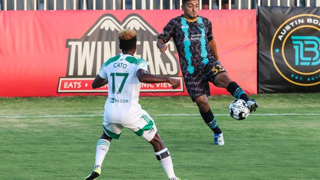 Austin Bold midfielder Sonny Guadarrama, seen in action earlier in the season versus OKC Energy, scored the first of two goals for the team in a 2-2 draw versus Tulsa Tuesday.