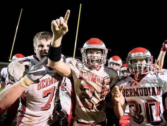 Bermudian Springs players celebrate after coming back