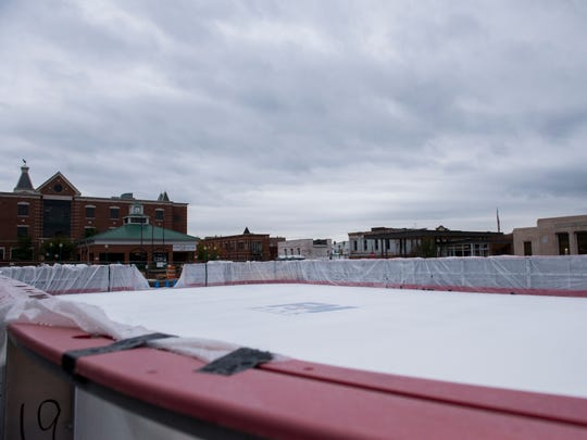 The ice rink in Downtown Commons in Clarksville installed