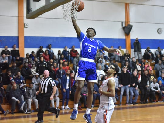 Teaneck's Jayden Dawson (2) going for two points during the opening round of the eight-team Jingle Bells Jubilee boys basketball tournament at Don Bosco Tech, Paterson on Tuesday, Dec. 26, 2017. Teaneck beat Eastside, 97-69.
