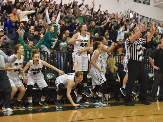 The Mason bench and fans erupt after a late 3 point