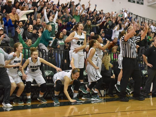 The Mason bench and fans erupt after a late 3 point shot fell for the Comets Saturday, February 10th at Mason