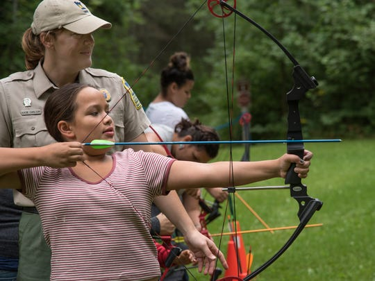 "A parks naturalist runs ""Archery in the Parks"" at Jay"
