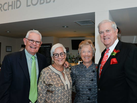 John and Jan Donlan, left, with 2018 Laurel Award honorees Marlynn and Bill Scully at Riverside Theatre.