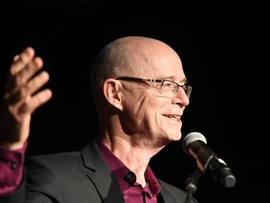 The outgoing executive director of the Flynn Center, John Killacky, delivers a speech at the Everybody Belongs: A Celebration Honoring John Killacky at the Flynn Center for the Performing Arts in Burlington on Tuesday, June 26, 2018.