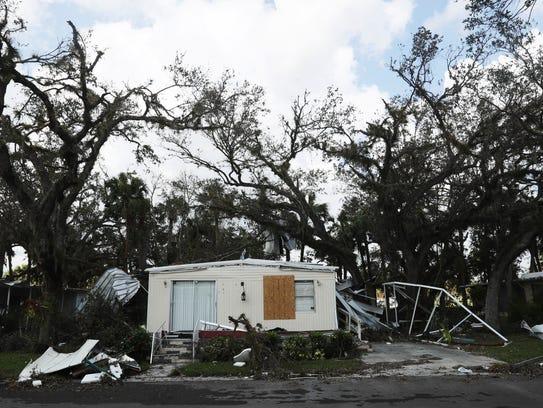 Mobile homes Oak Park in Alva. Florida was heavily