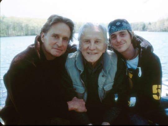 Michael Douglas, Kirk Douglas and Cameron Douglas in