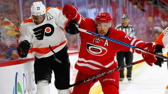 All-Star MVP Wayne Simmonds is hoping his Flyers can get a fourth straight win over All-Star Justin Faulk and the Hurricanes.
