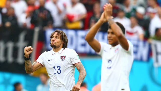 USA midfielder Jermaine Jones (13) celebrates following the game against Germany during the 2014 World Cup at Arena Pernambuco. Germany defeated USA 1-0.