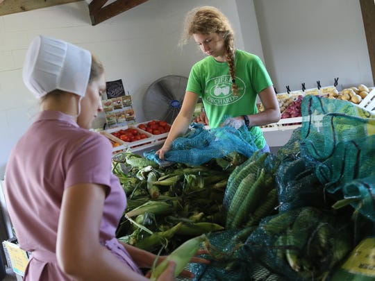 Barbara Yoder (left) and Stephanie Austin stock bins with corn at the new Fifer's Orchard location in New Castle on Tuesday. It is the farm's first location in northern New Castle County.