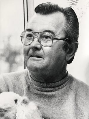 Stowe Hoyle, seen in photo taken while he was interviewed by the Independent Mail in 1984, played Mr. Doohickey for WYFF.  Hoyle died Sunday at age 93.