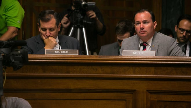 Sen. Ted Cruz and Sen. Michael Lee question witnesses at the Senate Judiciary Committee hearing on Consolidation and Competition in the U.S. Seed and Agrochemical Industry inside the Dirksen Senate Office Building in Washington, DC.