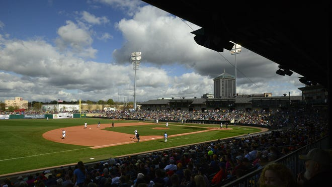 The Montgomery Biscuits play the Tampa Bay Rays in an exhibition game at Riverwalk Stadium in Montgomery, Ala. on Saturday March 29, 2014.