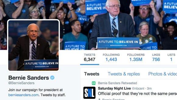 Screenshot of Bernie Sanders' Twitter page.