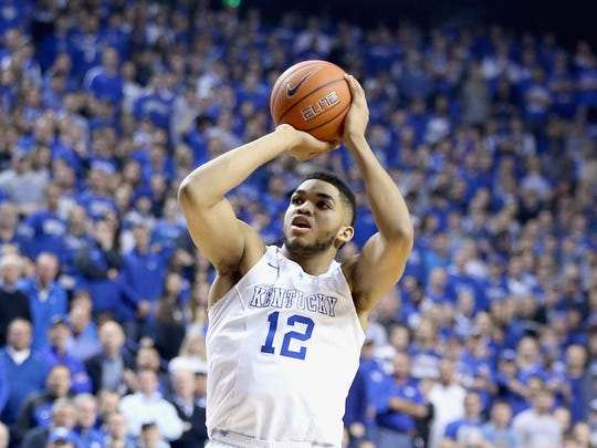 New Jersey native Karl-Anthony Towns of Kentucky shoots the ball during a game against Florida at Rupp Arena on March 7, 2015, in Lexington, Ky.