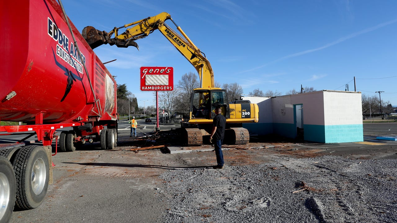 Gene's Hamburgers, a historic restaurant that opened in 1954, is torn down.