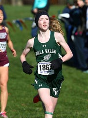 Villa Walsh freshman Sarah Hanifin comes in for a third place finish in the NJSIAA Non-Public B girls cross country championships at Holmdel Park. November 11, 2017. Holmdel, New Jersey