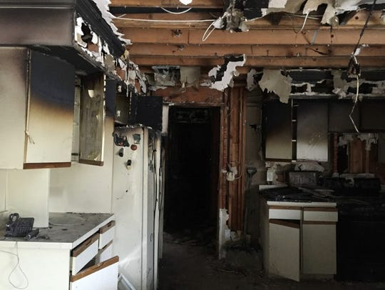 This is the kitchen after a devastating Christmas fire.