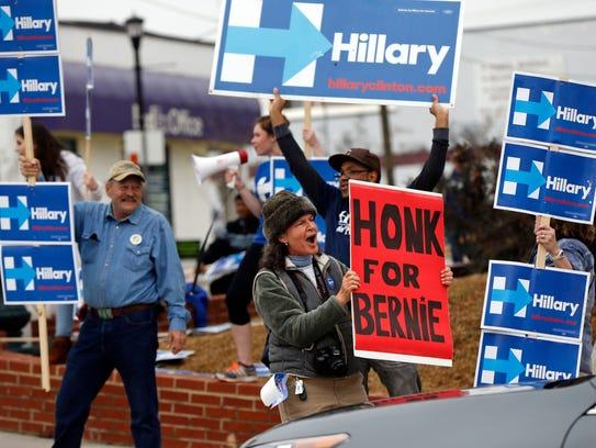 Tara Orlando of Floyd, Va., a supporter of Bernie Sanders,