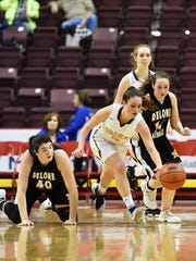 York Catholic's Gina Citrone tries to control the ball against Delone Catholic in the second half of the PIAA District 3 Class 3A girls' basketball title game Thursday, March 2, 2017, at the Giant Center in Hershey. York Catholic defeated Delone Catholic 57-46 to earn its 11th district championship in 12 years, as well as head coach Kevin Bankos' 300th career win.