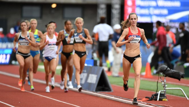 Molly Huddle leads the pack  during the second women's 5,000 meters preliminary heat Thursday at the U.S. Olympic Team Trials at Hayward Field in Eugene, Oregon.
