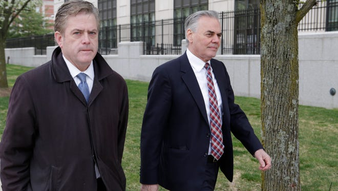 Town of Ramapo Supervisor Christopher St. Lawerence, right, and attorney Michael Burke, appear at the White Plains Federal Courthouse for the first day of jury selection on Federal corruption charges on April 19, 2017.
