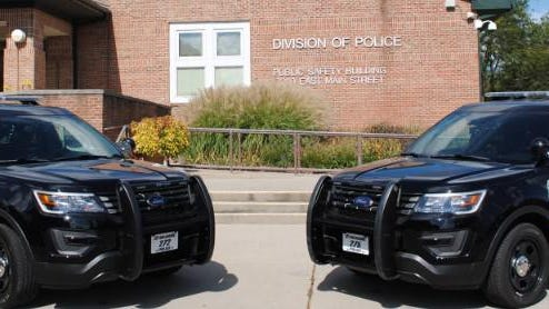 Reynoldsburg Division of Police vehicles outside the city's Public Safety Building.