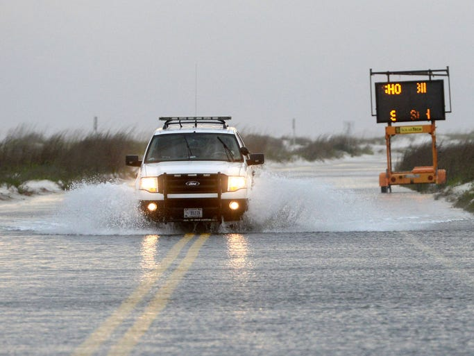 Fort Pickens remains closed Tuesday with the road flooded from high winds and high tides.