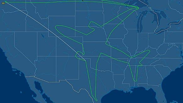 The aircraft's flight pattern recorded online via flight-tracking