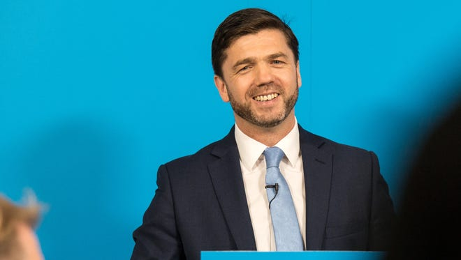 Work and Pensions Minister Stephen Crabb announces his running for the Conservative Party leadership at a press conference on June 29, 2016 in London, England.