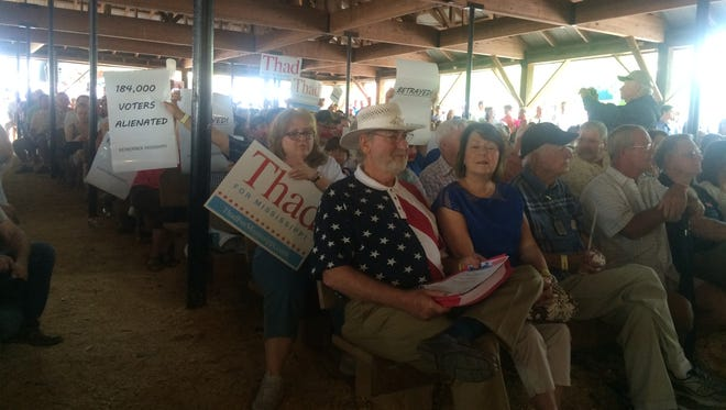 A small group of protesters from south Mississippi were among a sea of U.S. Sen. Thad Cochran supporters at the Neshoba County Fair. Outside of minor heckling at the start of Cochran's speech, the protest was low key.