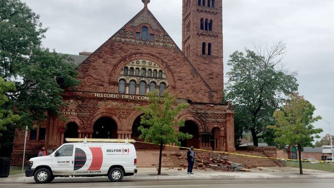 Part of the façade of the First Congregational Church of Detroit on Woodward Avenue collapsed on Aug. 17, 2017.