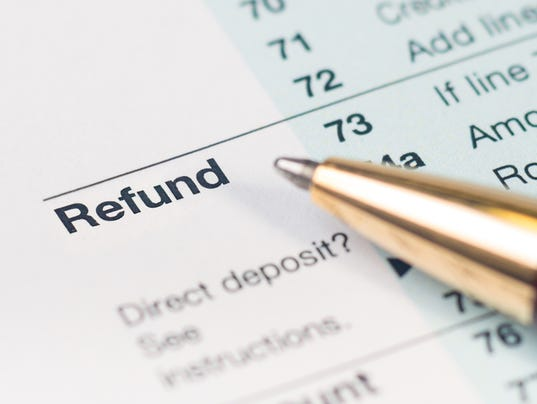 Tax refund form closeup