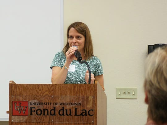 Lori Namur, executive director of the Fond du Lac Area Women's Fund, emceed for the educational event.