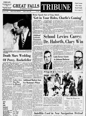 Front page of the Great Falls Tribune, Sunday, April 2, 1967.
