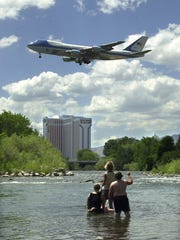 Air Force One glides over the Truckee River in 2004.