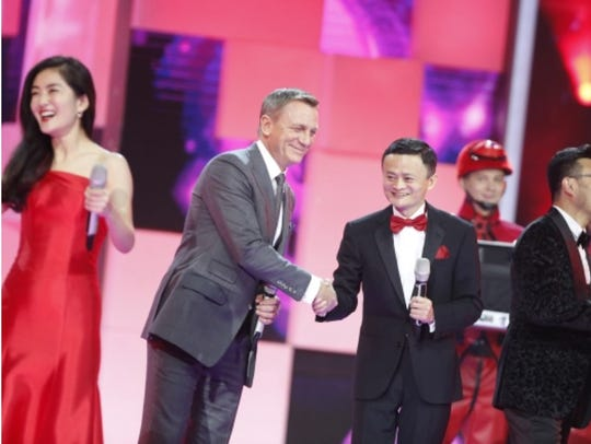 British actor Daniel Craig and Alibaba CEO Jack Ma