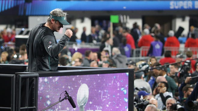 Philadelphia Eagles head coach Doug Pederson celebrates after defeating the New England Patriots in Super Bowl LII at U.S. Bank Stadium.