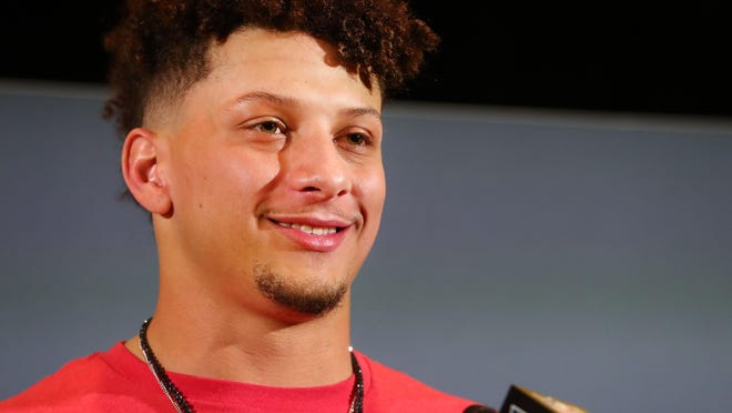 Kansas City Chiefs quarterback Patrick Mahomes II speaks with media during the winning coach and Super Bowl MVP press conference at Hilton Miami on Feb 3in Miami. Mahomes is scheduled to announce the Male and Female Athletes of the Year on Thursday night during the Lone Star Varsity High School Sports Awards show.