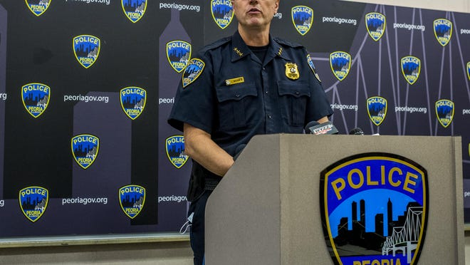 Peoria Police Chief Loren Marion addresses a shooting early Sunday that left 13 people injured on the Peoria riverfront during a press conference Monday, July 20, 2020.