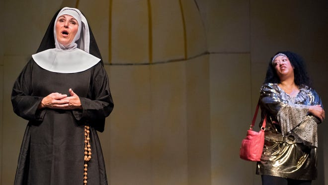 "Actresses' from the Sioux Empire Community Theatre perform as protagonists Mother Superior (left) and Deloris Van Cartier (right) in a rehearsal of ""Sister Act"" at Orpheum Theatre on Tuesday, Sept. 19, 2017."