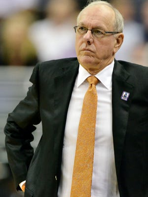 Syracuse Orange head coach Jim Boeheim looks on during play in the first half against Pittsburgh in the ACC tournament.