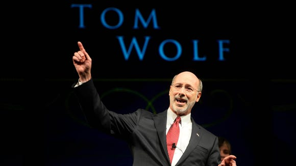 "Pennsylvania Governor Tom Wolf takes the stage during his inaugural ball at the Hershey Lodge in Hershey Tuesday, January 20, 2015. The ball, ""Let's Get Started"", was the final event on the day of his inauguration. Kate Penn — Daily Record/Sunday News"