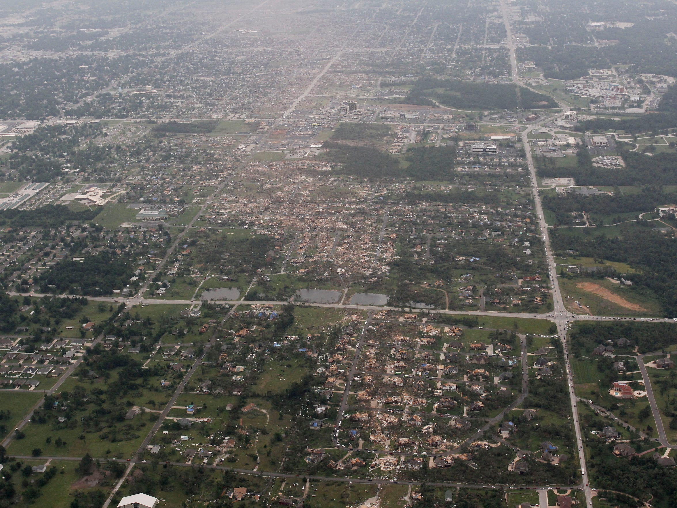 An aerial view of tornado damage in Joplin on Tuesday, May 24, 2011.