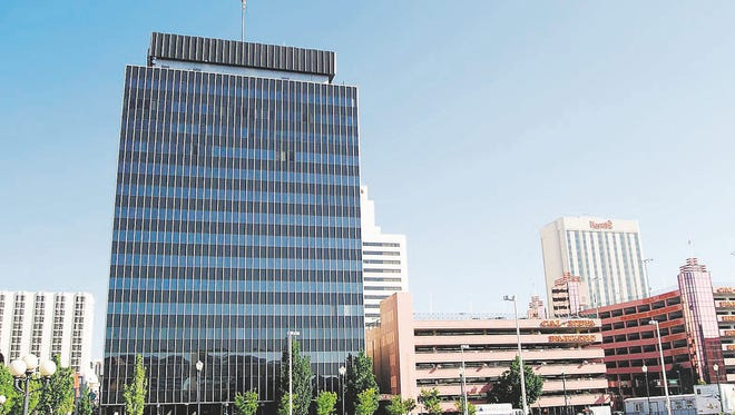 The current Reno City Hall is at left, in this view looking north. The Cal Neva parking garage is on the right.